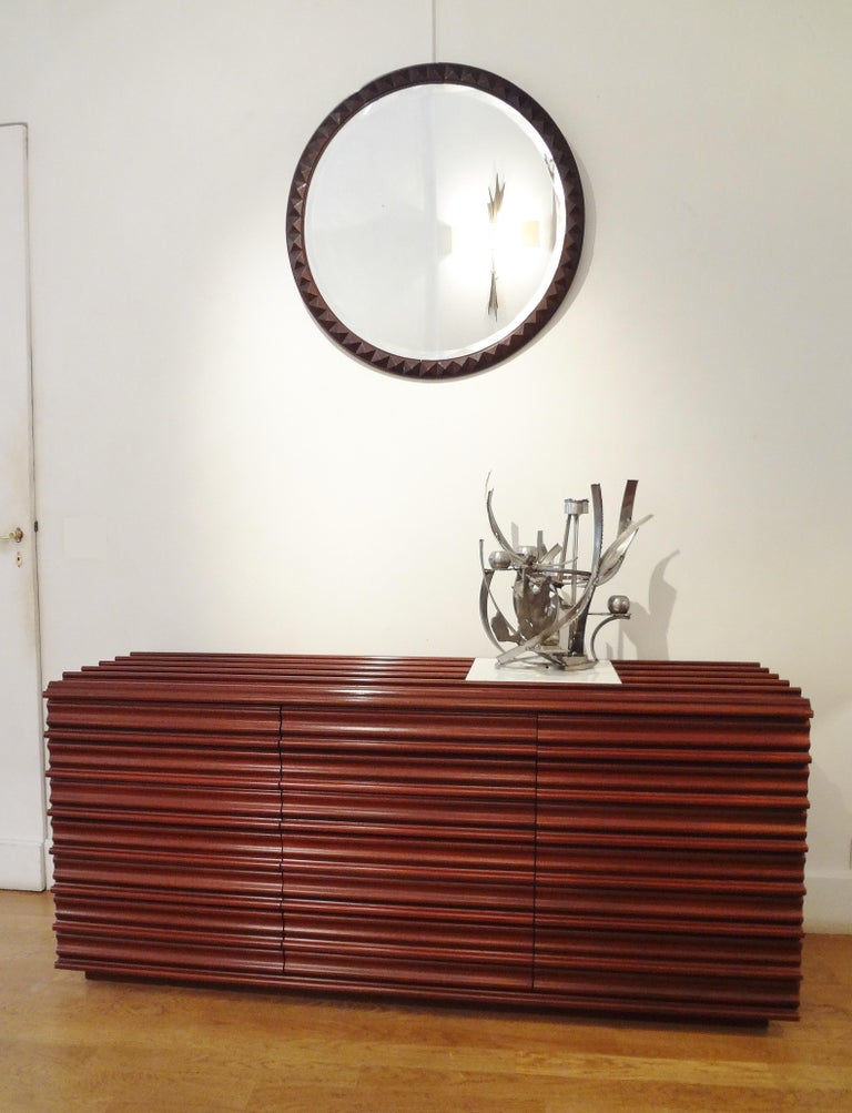 Carved Interesting Sideboard by Luciano Frigerio, circa 1975 For Sale