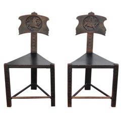 Interesting Unusual Pair of Tri Leg Carved Dark Brown Wood Lion Ram Chairs