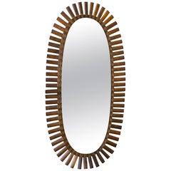Interesting Vintage, Oval Rattan Mirror of Mid-Century Modern Design