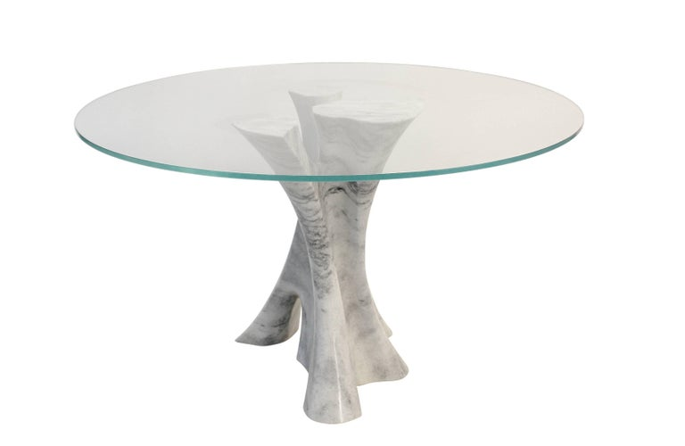 Other Interface carved solid marble block dining table with glass top. For Sale