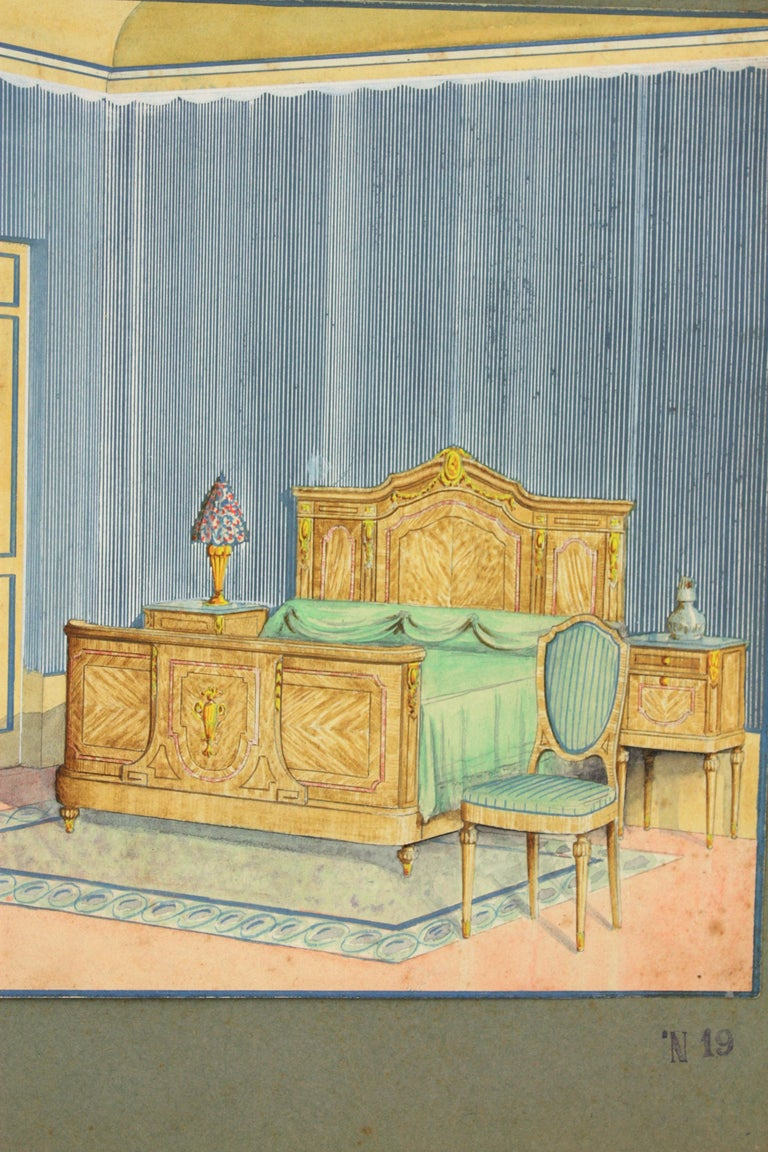 Spanish classical bedroom indoor home scene. Original watercolor, ink and gouache drawing on vellum paper, Project for a home decoration. Cabinet maker archives stamp at the bottom part: 'J. Anguera. Carpintería. Barcelona' Number 19. Individual
