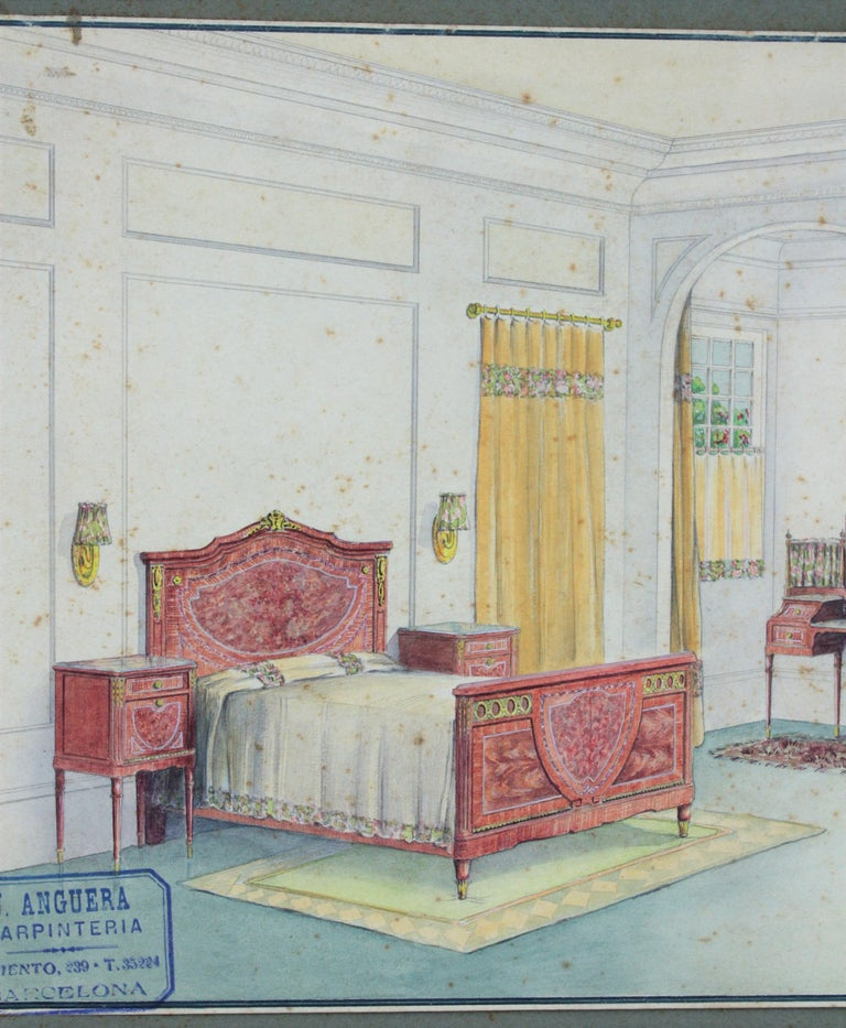 Spanish neoclassical style bedroom indoor home scene. Original watercolor, ink and gouache drawing on vellum paper, project for a home decoration. Cabinet maker archives stamp bottom Lef: 'J. Anguera. Carpintería. Barcelona' Number 16.