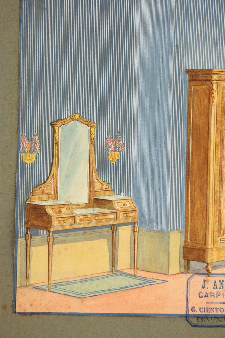 Neoclassical Interior Bedroom Scene Original Watercolor, Ink and Gouache Drawing, Spain 1930s For Sale