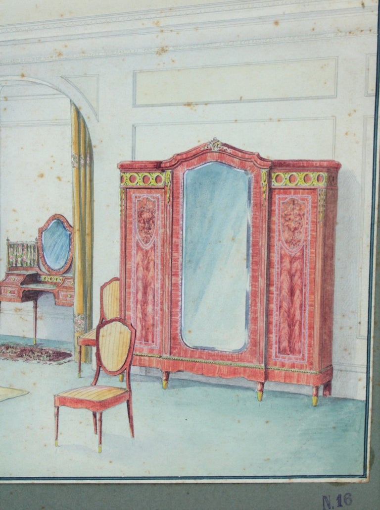 Neoclassical Interior Bedroom Scene Original Watercolor, Ink and Gouache Drawing Spain, 1930s For Sale
