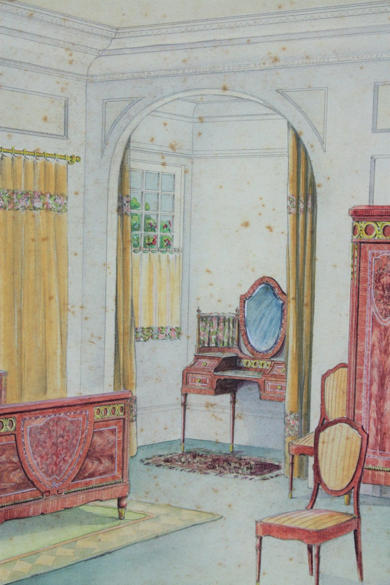 Spanish Interior Bedroom Scene Original Watercolor, Ink and Gouache Drawing Spain, 1930s For Sale