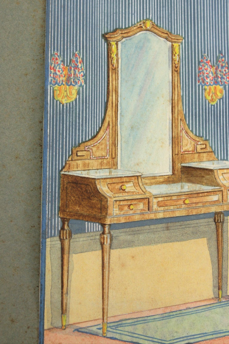 Hand-Painted Interior Bedroom Scene Original Watercolor, Ink and Gouache Drawing, Spain 1930s For Sale