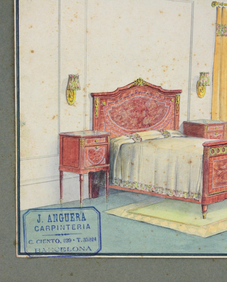 Hand-Painted Interior Bedroom Scene Original Watercolor, Ink and Gouache Drawing Spain, 1930s For Sale