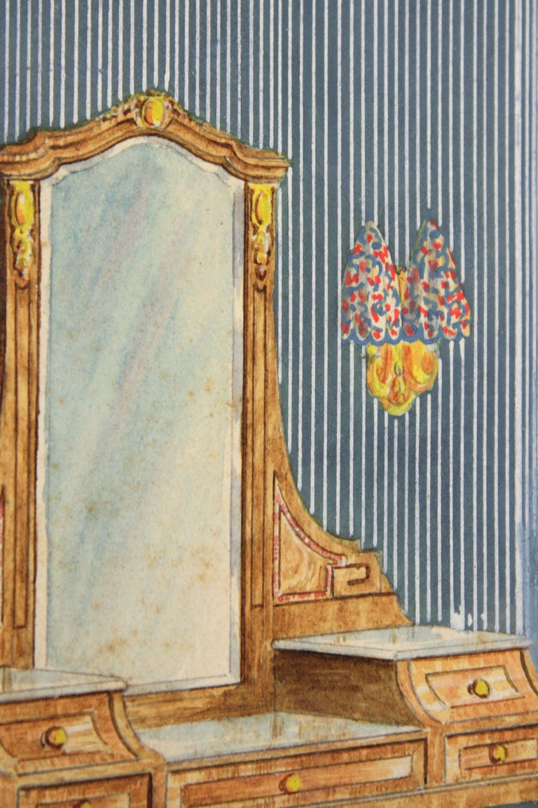 Mid-20th Century Interior Bedroom Scene Original Watercolor, Ink and Gouache Drawing, Spain 1930s For Sale