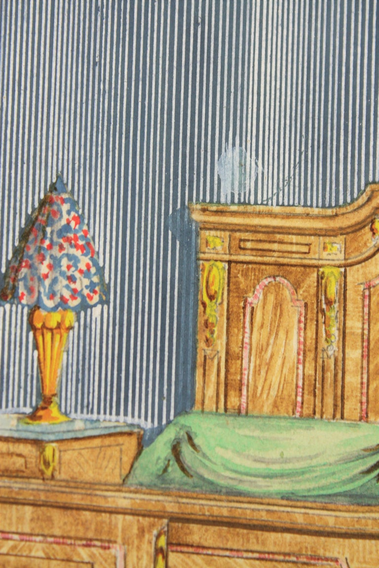 Other Interior Bedroom Scene Original Watercolor, Ink and Gouache Drawing, Spain 1930s For Sale