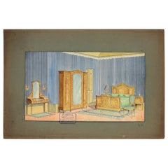Interior Bedroom Scene Original Watercolor, Ink and Gouache Drawing, Spain 1930s