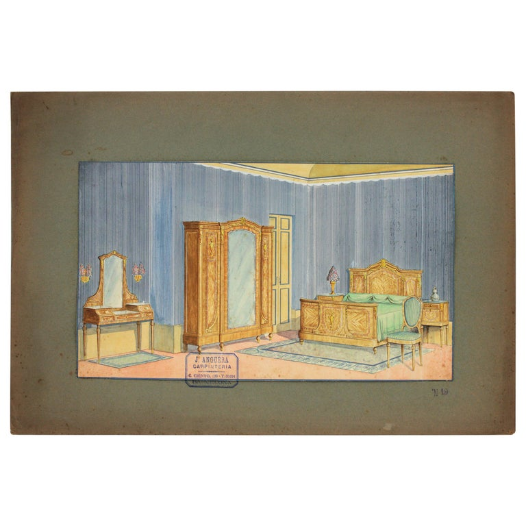 Interior Bedroom Scene Original Watercolor, Ink and Gouache Drawing, Spain 1930s For Sale