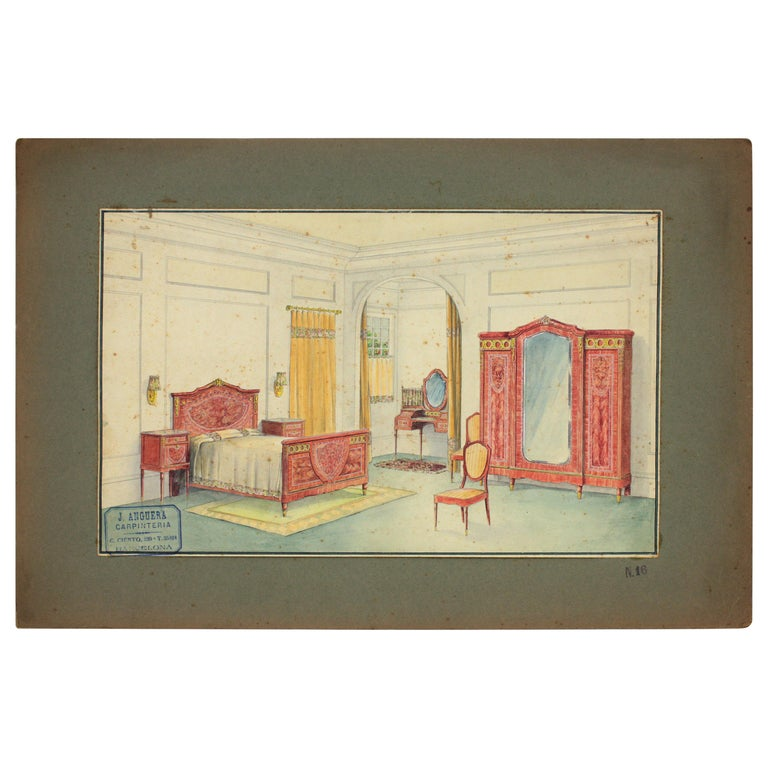 Interior Bedroom Scene Original Watercolor, Ink and Gouache Drawing Spain, 1930s For Sale