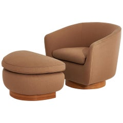 Interior Crafts Swivel Chair with Ottoman on Walnut Base, 1970