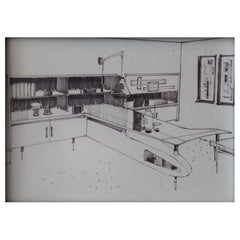 Interior Design Sketch by Frank B. Kyle