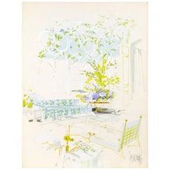 "Interior Illustration, circa 1970, Signed ""Jeremiah""."