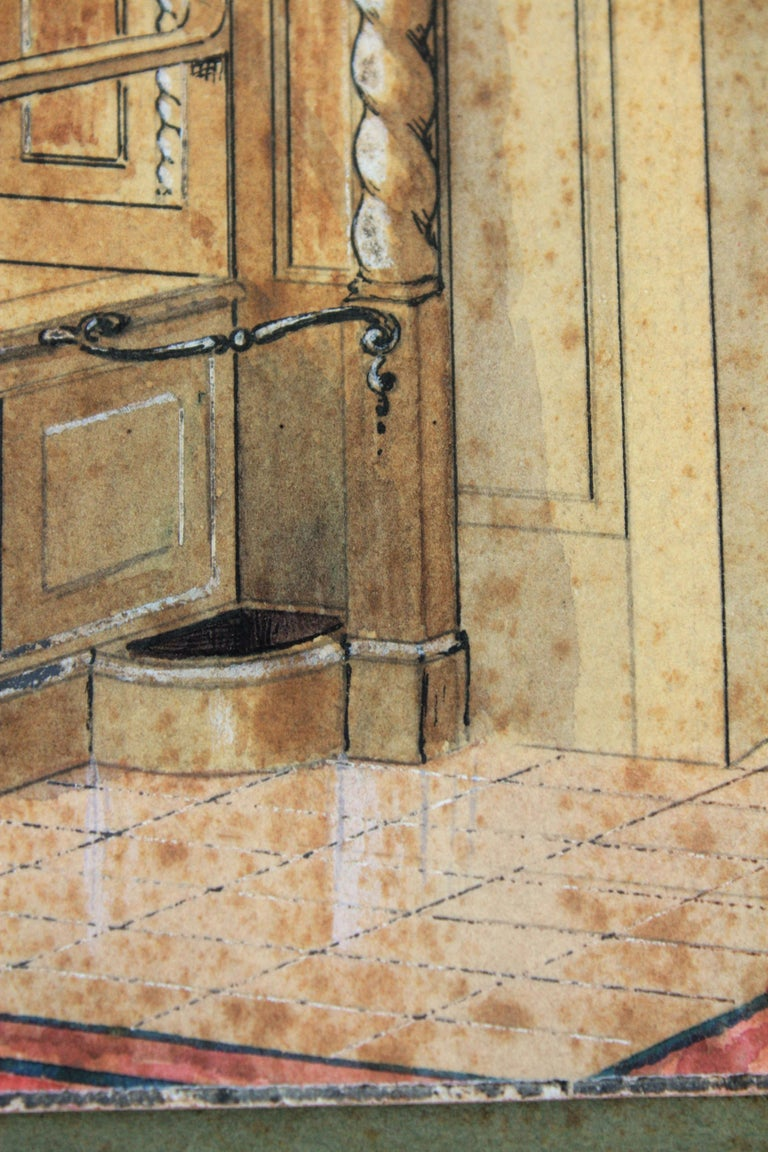Interior Scene Original Watercolor, Ink and Gouache Drawing, Spain, 1930s For Sale 5