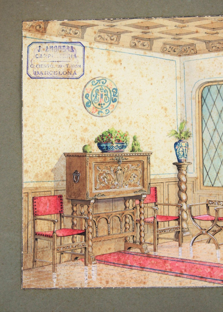 Spanish Colonial Indoor home scene. Original watercolor, ink and gouache drawing on vellum paper, Project for a home decoration. Cabinet maker archives stamp top Lef: 'J. Anguera. Carpintería. Barcelona' Number 7. Individual size: 33.5cm W x 24cm