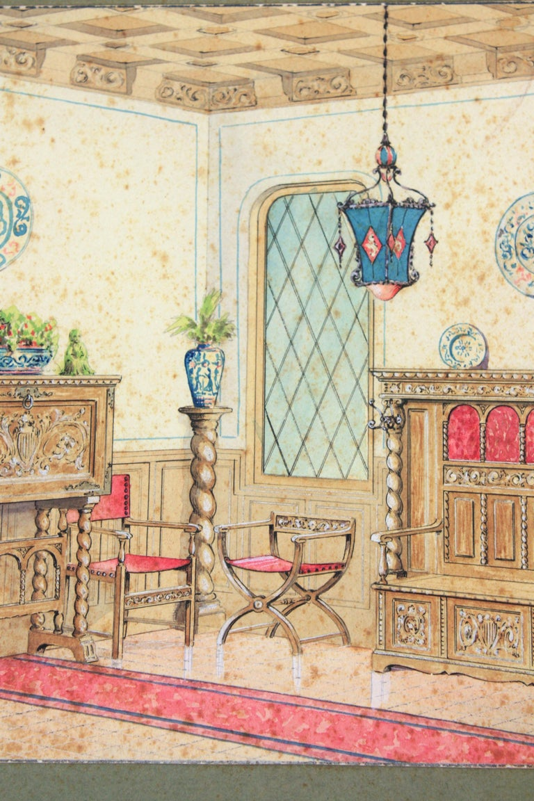 Spanish Interior Scene Original Watercolor, Ink and Gouache Drawing, Spain, 1930s For Sale