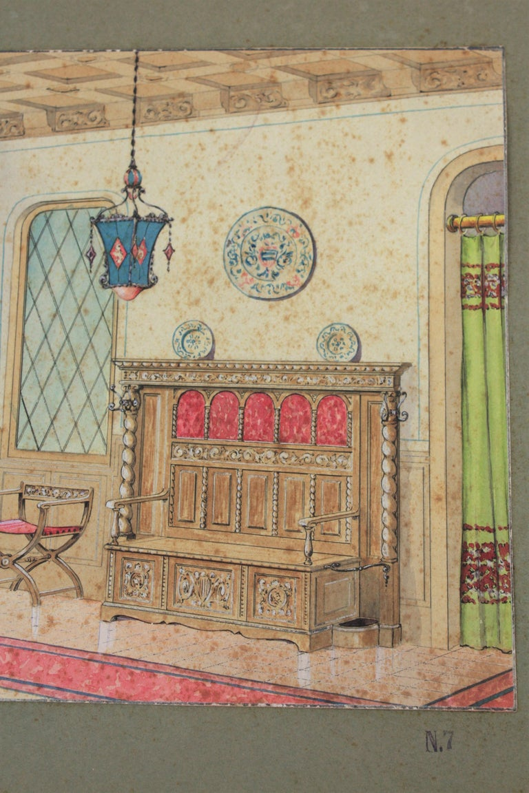 Hand-Painted Interior Scene Original Watercolor, Ink and Gouache Drawing, Spain, 1930s For Sale