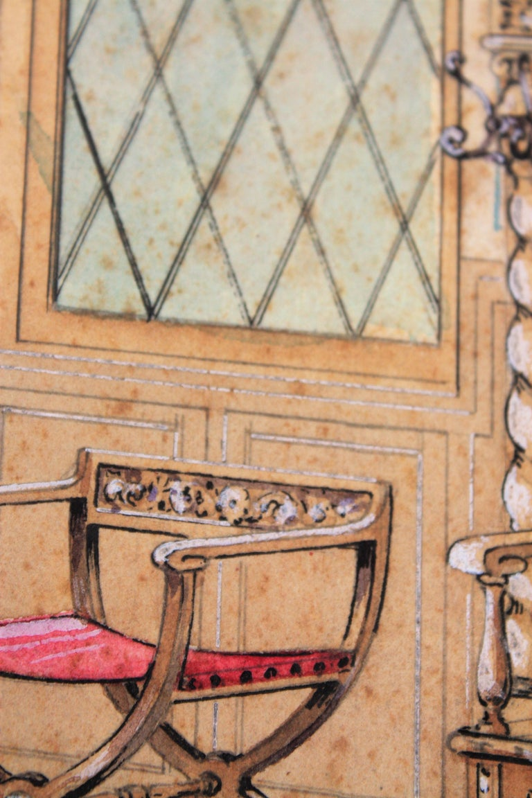 Paper Interior Scene Original Watercolor, Ink and Gouache Drawing, Spain, 1930s For Sale