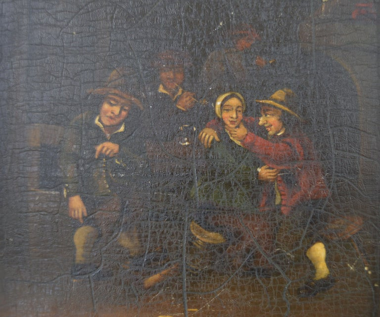 Folk Art Interior with Bucolic Figures, Oil on Panel, Dutch, 19th Century For Sale