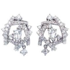 Interlaced White Diamond Earrings in 18 Karat White Gold