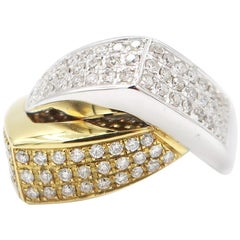 Interlocking 2-Tone 18 Karat White and Yellow Gold Band Ring