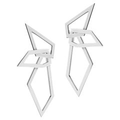 Interlocking Angle Earrings, Sterling Silver