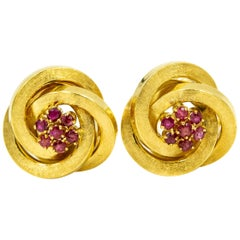 Interlocking Circles Swirl Yellow Gold and Ruby Clip-On Clip Earrings