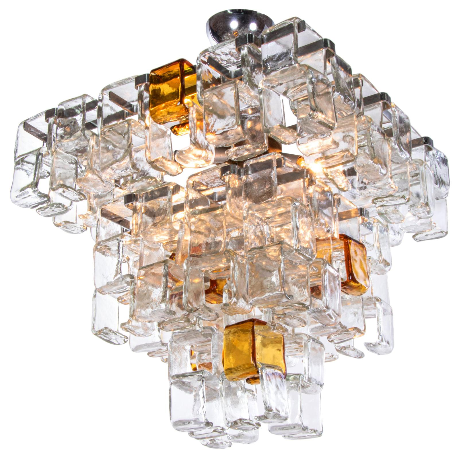 Italian Murano Glass Pendant Large French Crystal Chandelier Handmade Blown Glass Chandelier Blue and Amber Glass Art Chandelier Lighting