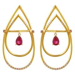 Interlocking Geometry Diamond and Pear Shape Ruby Gold Earrings
