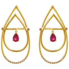 Interlocking Geometry Diamond and Pear Shape Ruby Gold Earrings