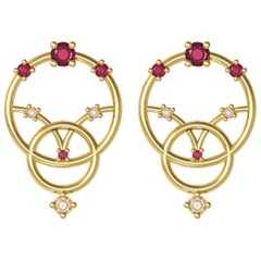 Interlocking Geometry Diamond and Ruby Gold Earrings
