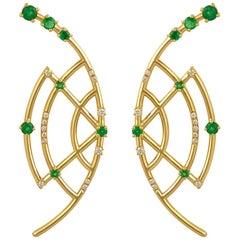 Interlocking Geometry Emerald and Diamond 18 Karat Gold Earrings