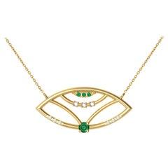 Interlocking Geometry Emerald and Diamond 18 Karat Gold Evil Eye Pendant