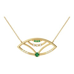 Interlocking Geometry Emerald and Diamond 18 Karat Gold Evil Eye Pendant