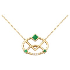 Interlocking Geometry Emerald and Diamond 18 Karat Gold Necklace