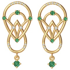 Interlocking Geometry Emerald and Diamond Gold Earrings