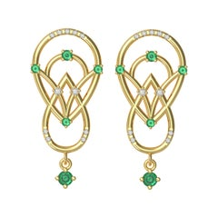 Interlocking Geometry Emerald and Diamond Gold Earrings
