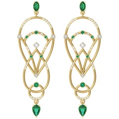 Interlocking Geometry Emerald and Diamond Gold Pear Earrings