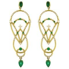 Interlocking Geometry Emerald and Diamond Gold Pear Earrings