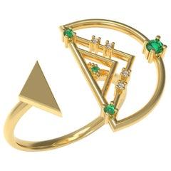 Interlocking Geometry Emerald and Diamond Gold Ring