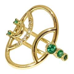 Interlocking Geometry Emerald and Diamond Oval Ring