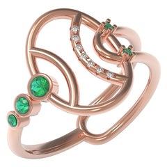 Interlocking Geometry Emerald and Diamond Rose Gold Pinky Ring