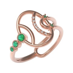 Interlocking Geometry Emerald and Diamond Rose Gold Pinky Ring
