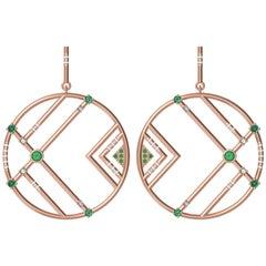Interlocking Geometry Emeralds and Diamond Rose Gold Earrings
