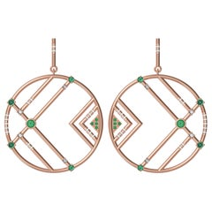 Interlocking Geometry Emeralds and Diamond RoseGold Earrings
