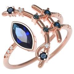 Interlocking Geometry Marquise Sapphire and Diamond Rose Gold Ring