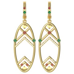 Interlocking Geometry Multi-Stone Gold Earrings