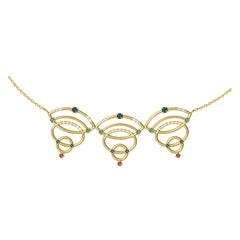 Interlocking Geometry Sapphire, Emerald And Ruby Gold Necklace